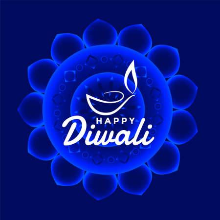 happy diwali blue festival card design