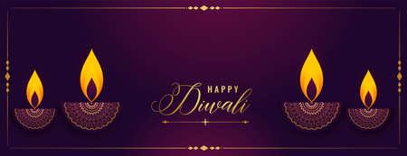 happy diwali decorative diya festival banner design