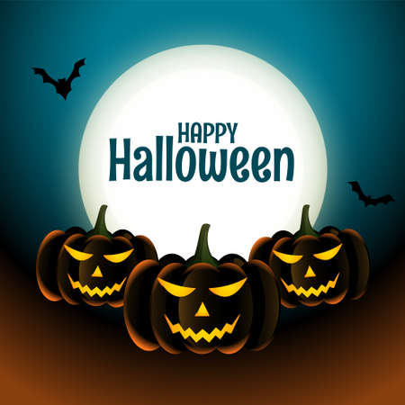 Happy halloween scary pumpkins card with moon and bats