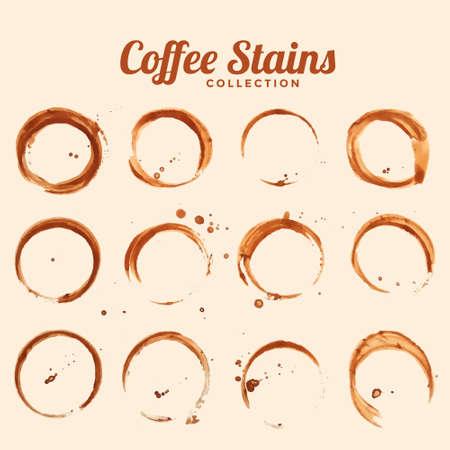 coffee glass stain texture set of twelve Ilustración de vector