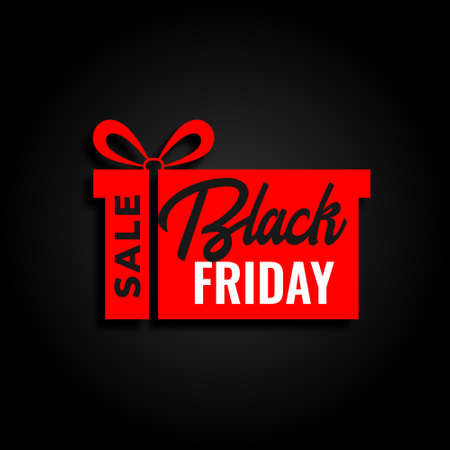 black friday sale and red gift background design Vector Illustration