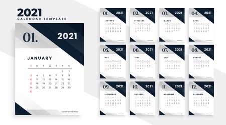 new year 2021 stylish calendar template design Stock Illustratie