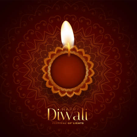 lovely happy diwali background with realistic diya design Stock Illustratie