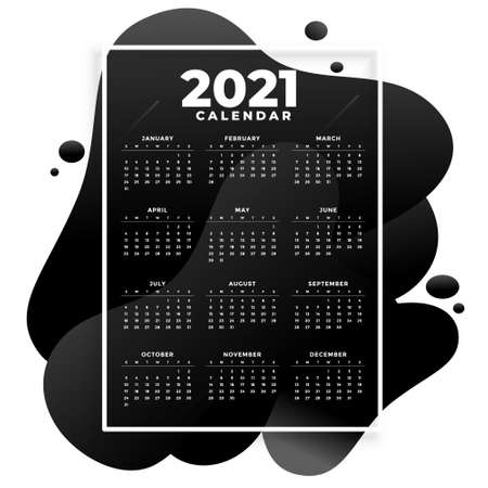 abstract 2021 new year calendar in fluid style design