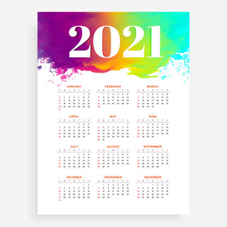 abstract 2021 new year calendar in watercolor style