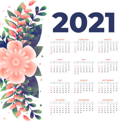 2021 new year calendar template with flower decoration