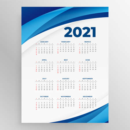 business style 2021 new year calenday with blue wave