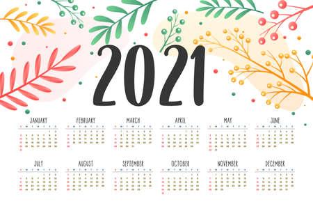 2021 new year calendar with flower decoration design