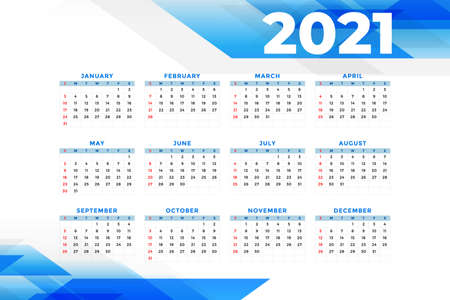business style 2021 new year calendar template design