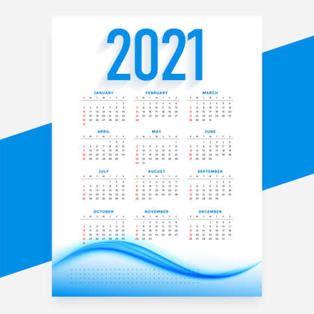 modern blue 2021 new year calendar design wavy template
