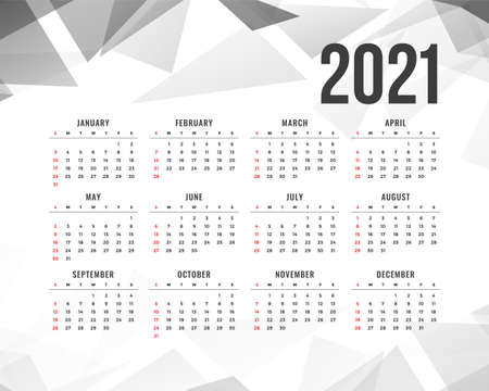 abstract 2021 new year calendar with gray triangle shapes