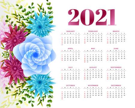 2021 new year calendar design with flower decoration Stock Illustratie