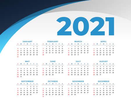 flat style 2021 new year calendar design template