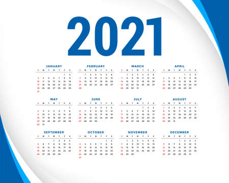 2021 new year calendar with blue wavy lines shape