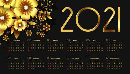 2021 new year black and golden calendar design with flowers Stock Illustratie