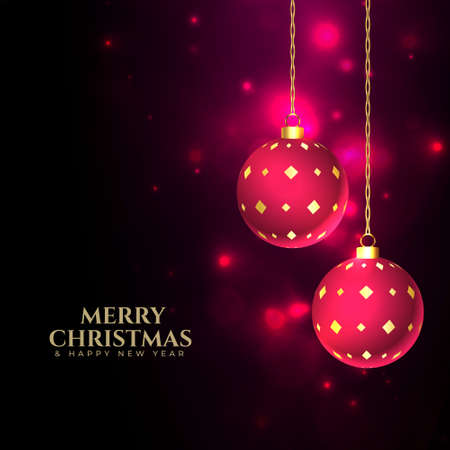 merry christmas shiny background with baubles decoration