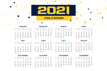 modern style 2021 new year calendar design template Stock Illustratie