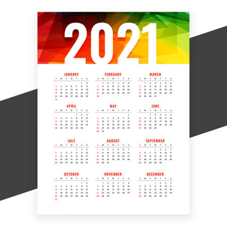 2021 abstract new year calendar design colors template Stock Illustratie
