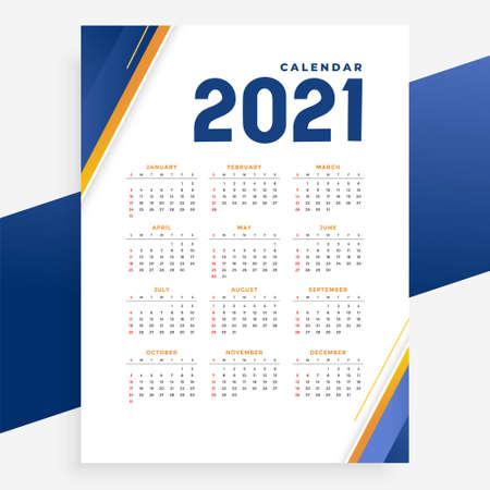 modern 2021 calendar template design for new year
