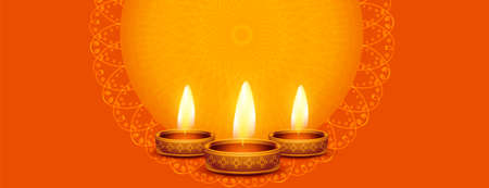 beautiful happy diwali banner with diya and text space