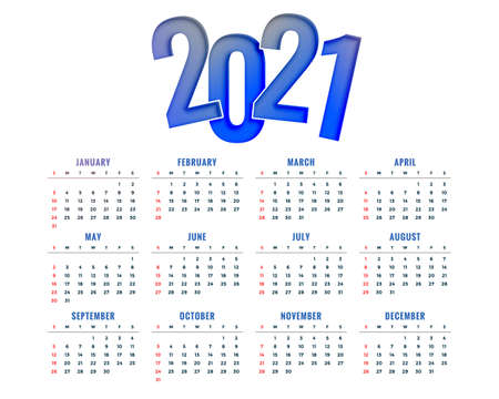 2021 new year calendar design simple modern template