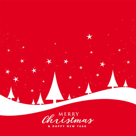 lovely merry christmas red flat style background