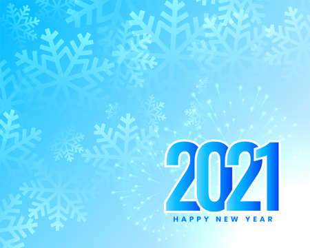 2021 blue happy new year snowflakes background design