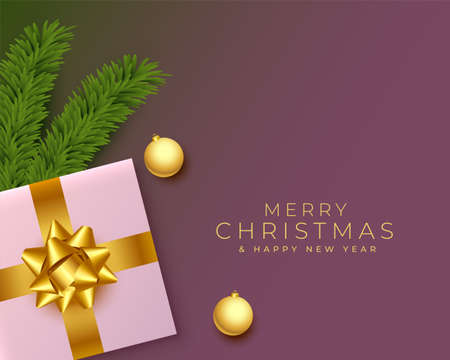 merry christmas realistic greeting with gifts and pine tree leaves