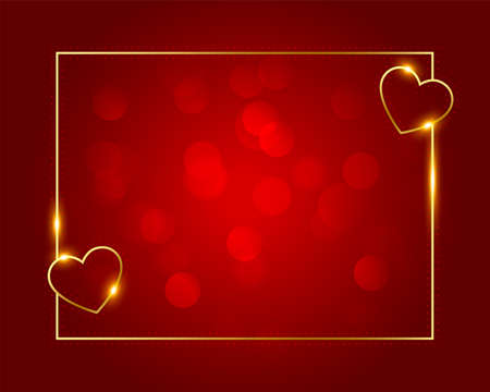 golden love hearts frame for valentines day 向量圖像