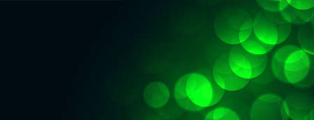 green bokeh lights background with text space