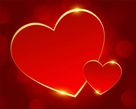 romantic red and golden love hearts background