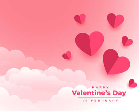 happy valentines day background with paper hearts and clouds 向量圖像