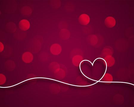 stylish line valentines heart on bokeh background 向量圖像
