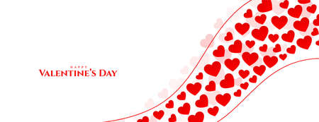 happy valentines day hearts greeting banner design