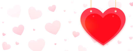 happy valentines day greeting banner with red heart