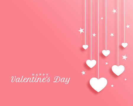 valentines day background with hanging hearts design