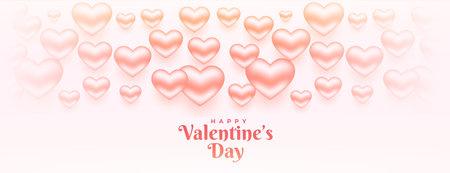 happy valentines day 3d hearts banner design