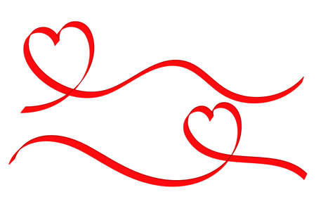 two ribbon hearts design in flat style