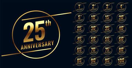 stylish golden anniversary emblem big set