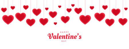 happy valentines day hanging decorative hearts banner design