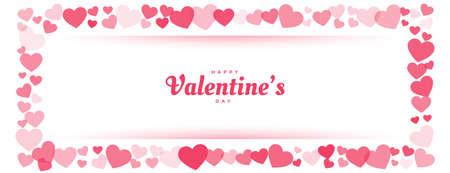 happy valentines day red heart frame banner design Ilustración de vector