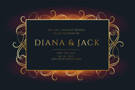 floral style golden wedding invitation template design