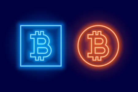 two bitcoin logo symbol made in neon style