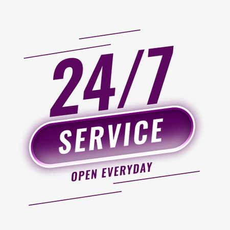24 hours service open everyday background Vecteurs