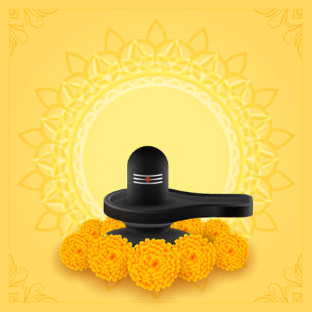 shivling idol with marigold flower for maha shivratri festival