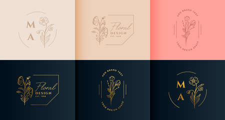 beautiful flower floral logotype collection in minimal style