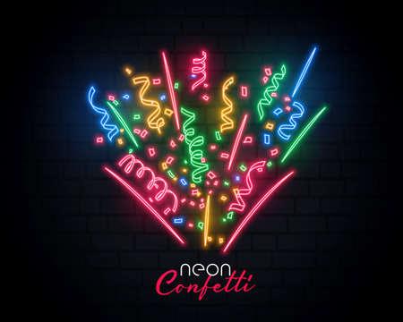 bursting celebration confetti neon background