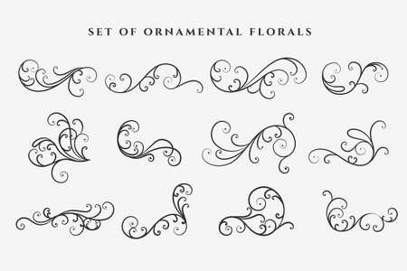 decorative floral swirl ornaments elements set Vettoriali