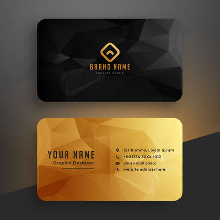 low poly golden and black business card template Vector Illustration