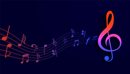 musical pentagram wavy background with sound notes